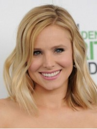 Kristen Bell Blonde Remy Human Hair Medium Wavy Lace Front Wigs 12 Inches