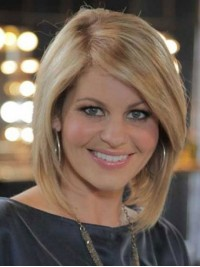 Blonde Bob Style Human Hair Capless Wigs With Side Bangs 12 Inches