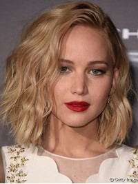 Blonde Bob Style Wavy Capless Human Hair Wigs With Side Bangs 12 Inches
