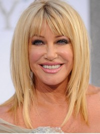 Suzanne Somer'S Blonde Straight Medium Remy Human Hair Wigs With Bangs 14 Inches