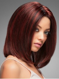 Claret Bob Style Central Parting Straight Lace Front Human Hair Wigs 14 Inches