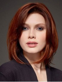 Shoulder Length Straight Claret Bob Style Human Hair Lace Front With Side Bangs 12 Inches