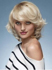Layered Blonde Wavy Capless Remy Human Hair Wigs With Bangs 12 Inches