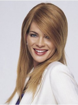 Blonde Long Straight Human Hair Wigs With Side Ban...