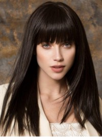 Long Black Straight Capless Hair Wigs With Bangs 18 Inches
