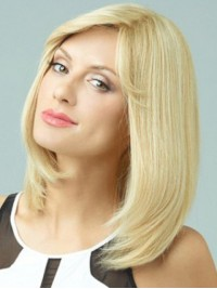 Blonde Medium Straight Human Hair Lace Front Wigs With Side Bangs 14 Inches