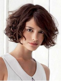 Auburn Bob Style Curly Remy Human Hair Wig With Side Bangs 8 Inches