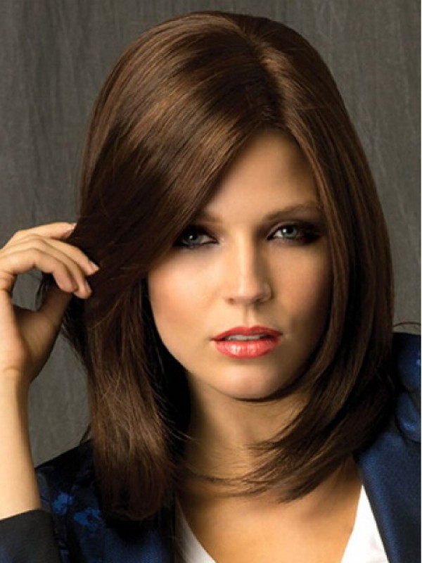 Brown Straight Medium Smooth Capless Remy Human Hair Wigs