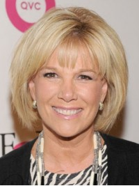 Joan Lunden Bob Style Straight Blonde Capless Human Hair Wigs With Bangs 10 Inches