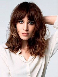 Brown Medium Wavy Capless Human Hair Wigs With Bangs 16 Inches