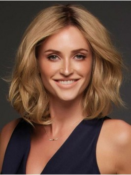 Central Parting Blonde Wavy Medium Lace Front Remy...