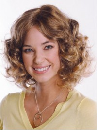 Blonde Central Parting Medium Curly Capless Remy Human Hair Wigs 12 Inches