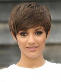 Short Straight Capless Remy Human Hair Wigs With Bangs 6 Inches