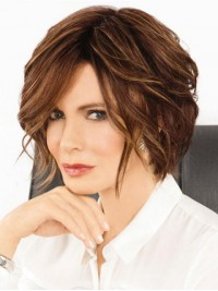 Brown Bob Style Short Wavy Capless Human Hair Wigs With Side Bangs 10 Inches