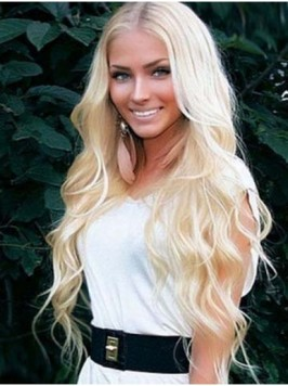 Central Parting Blonde Long Wavy Remy Human Hair C...