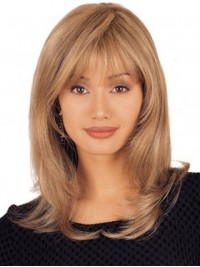 Blonde Long Straight Lace Front Remy Human Hair Wigs With Bangs 16 Inches