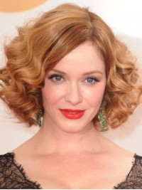 Blonde Short Bob Style Wavy Lace Human Hair Wigs With Side Bangs 12 Inches