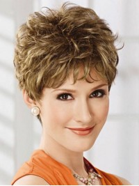 Flaxen Short Layered Straight Capless Human Hair Wigs With Bangs 8 Inches
