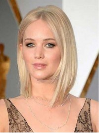 Jennifer Lawrence Bob Style Blonde Short Straight Lace Front Human Wigs 10 Inches