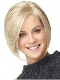 Bob Style Blonde Straight Short Lace Front Human Hair Wigs With Side Bangs 8 Inches