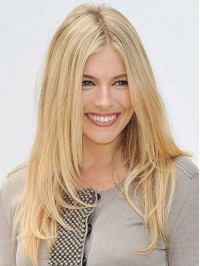 Central Parting Blonde Long Straight Human Hair Capless Wigs 20 Inches
