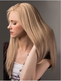 Smooth Blonde Long Straight Lace Front Human Hair Wigs 20 Inches