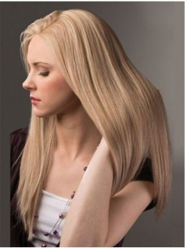 Smooth Blonde Long Straight Lace Front Human Hair ...