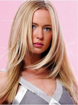 Blonde Central Parting Straight Capless Human Hair...