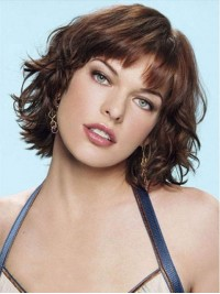 Juvenile Krauser Short Bob Style Wavy Capless Human Hair Wigs With Bangs 12 Inches