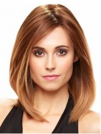Brown Medium Straight Lace Front Remy Human Hair Wigs With Side Bangs 12 Inches