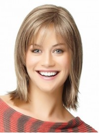 Medium Straight Smooth Capless Remy Human Hair Wigs 12 Inches