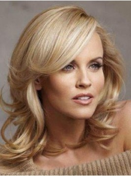 Medium Blonde Wavy Remy Hair Lace Front Wigs With ...