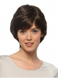Short Brown Straight Human Hair Capless Wigs With Bangs