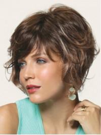 Brown Short Wavy Capless Remy Human Hair Wigs With Bangs 8 Inches