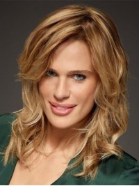 Blonde Medium Wavy Capless Remy Human Hair Wigs With Side Bangs 14 Inches