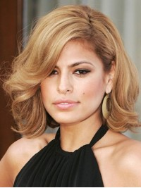 Blonde Short Bob Style Wavy Human Hair Wigs With Side Bangs 14 Inches