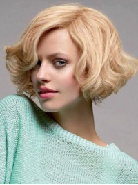 Blonde Short Wavy Capless Remy Human Hair Wigs With Side Bangs 10 Inches