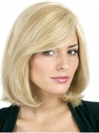 Blonde Bob Style Short Straight Capless Human Hair Wigs With Side Bangs 12 Inches
