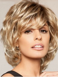 Layered Blonde Short Wavy Capless Human Hair Wigs With Bangs 10 Inches