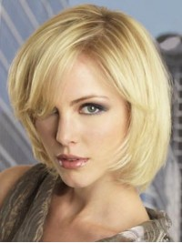 Blonde Straight Short Lace Front Remy Human Hair Wigs 10 Inches