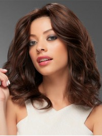 Brown Medium Wavy Lace Front Human Hair Wigs 14 Inches