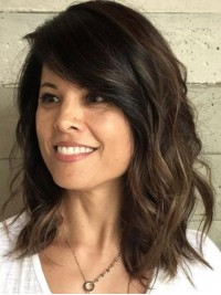 Brown Wavy Long Remy Human Hair Capless Wigs With Side Bangs 14 Inches
