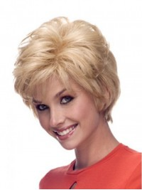 Blonde Boy Cut Short Straight Lace Front Remy Human Hair Wigs With Bangs 4 Inches