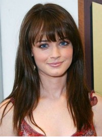 Long Straight Brown Capless Human Hair Wigs With Full Bangs 20 Inches