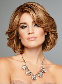 Blonde Bob Style Shotr Remy Human Hair Wavy Capless Wigs With Side Bangs 10 Inches