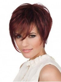 Claret Short Straight Layered Capless Human Hair Wigs With Bangs 6 Inches
