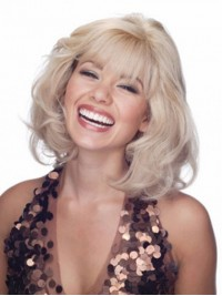 Blonde Medium Wavy Lace Front Remy Human Hair Wigs With Bangs 12 Inches