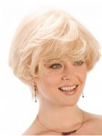 Blonde Short Straight Lace Front Remy Human Hair Wigs With Bangs 4 Inches