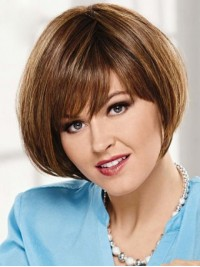 Flaxen Short Straight Capless Human Hair Wigs With Bangs 10 Inches