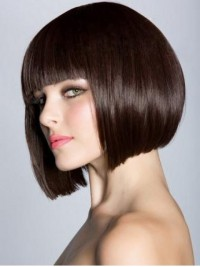 Straight Synthetic Bob Wigs With Full Fringe 10 Inches
